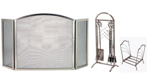 3-Fold Arched Satin Nickel Screen with Matching Tool Set & Log Holder