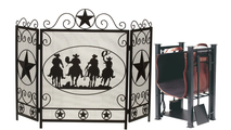 3-Fold Arched Cowboy Screen with Matching Log Holder & Tools