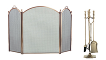 3-Fold Arched Antique Brass Screen with Matching Tool Set