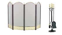 4-Fold Arched Polished Brass Screen with Matching Tool Set