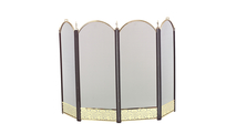 4-Fold Arched Black and Polished Brass Screen
