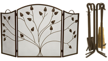 3-fold Arched Bronze Leaf Screen with Matching Tool Set