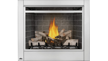 Birch Log Set With Westminster Grey Brick Panels And Optional Safety Screen