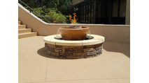 California Fountain Fire and Water Bowl shown in tan with a custom basin