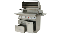 Solaire Cart Mount Grill shown with drawers and rotisserie