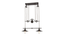 2-Light Spindle Wheel Island Light in Oil Rubbed Bronze