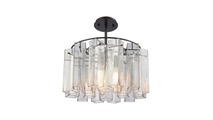 3-Light Cubic Glass Chandelier