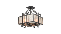 3-Light Stasis Chandelier with Tan and Clear Mica Shade