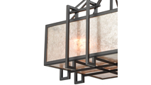 3-Light Stasis Chandelier with Tan and Clear Mica Shade Close Up