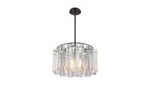 Cubic Glass 3-Light Chandelier in Oil Rubbed Bronze with Clear Glass Square Tubes
