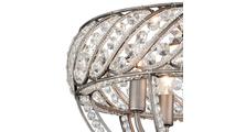 Weathered Zinc 4-Light Bradington Semi Flush Crystal Close Up