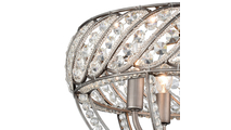 Weathered Zinc 4-Light Bradington Semi Flush Crystal Close Up