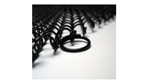 "Close up of 1/2"" hanger rings for fireplace mesh curtain. Sample shows black - screen will have stainless"
