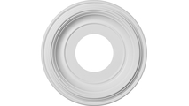 """Traditional Thermoformed Round PVC Ceiling Medallion in White 1 1/8""""Projection"""