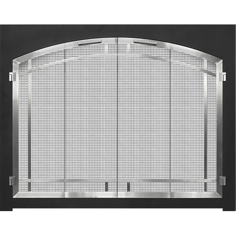 Cascadian Arch Conversion Fireplace Door with Matte Black Frame and Arched Door & Window Pane in Plated Brushed Chrome