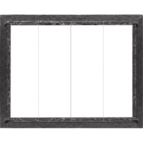 Laramie fireplace door in a matte black finish with square handles and on clearview cabinet doors with clear tempered glass.