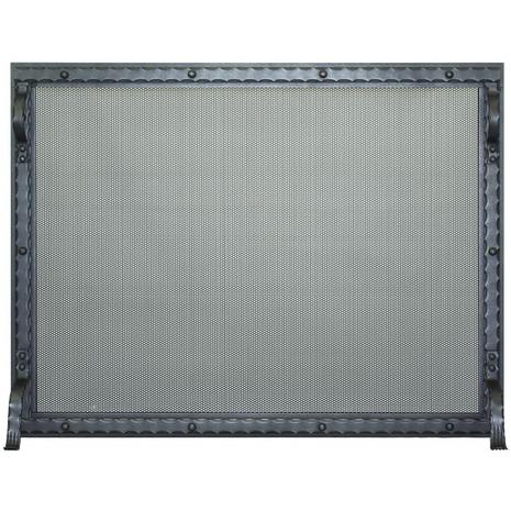 Blacksmith Fireplace Screen shown in charcoal powder coat finish