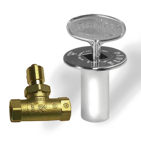 Straight ball valve with flange and key for gas shut off in chrome
