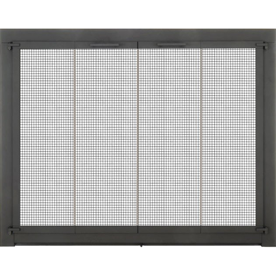 Appalachian Masonry Fireplace Door in Matte Black with cabinet mesh protection