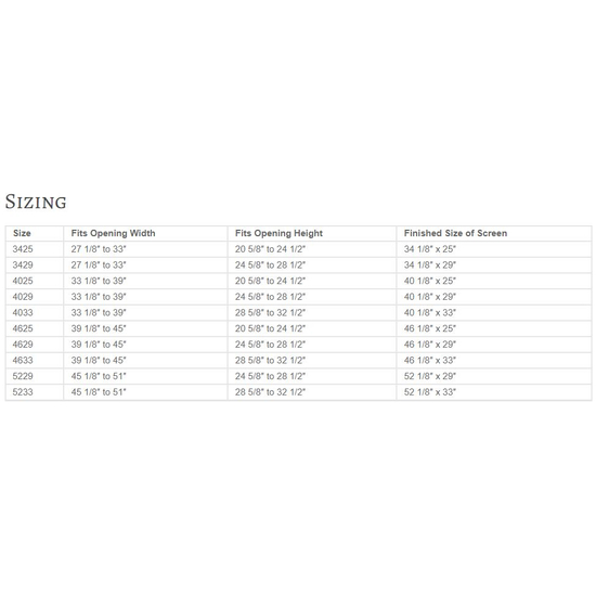 Sentry Premiere Masonry Fireplace Door Sizing Chart