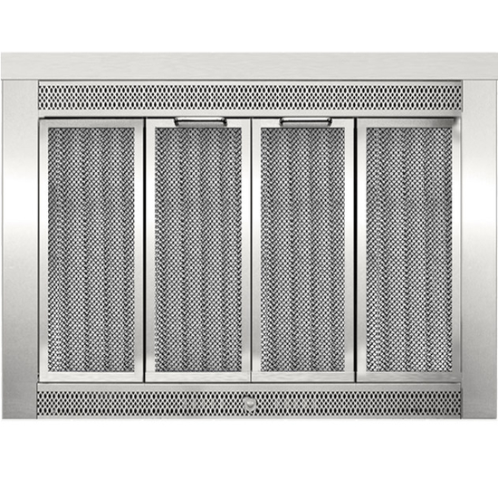Sentry Traditional Fireplace Doors in Satin Nickel