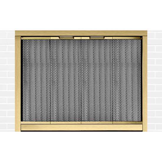 Ultraview Masonry Fireplace Door in Antique Brass
