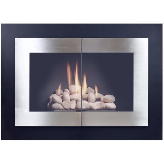 Saratoga Masonry Fireplace Door in Matte Black powder coat and plated brushed nickel doors