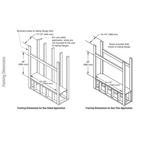 """43"""" Linear Vent Free See Thru Gas Fireplace Framing Dimensions"""