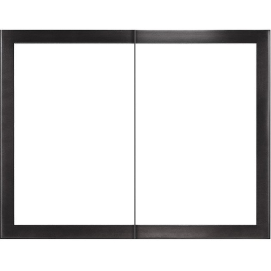 Slim Moderne Masonry Fireplace Door in Matte Black