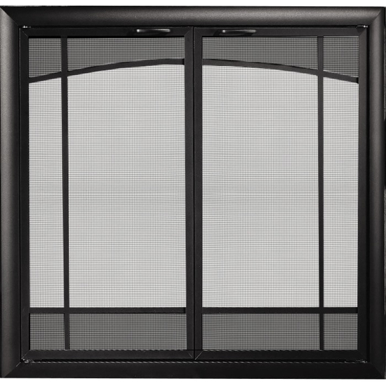 Sunrise Window Pane Design Direct Vent Screen With Operable Doors in Rustic Black