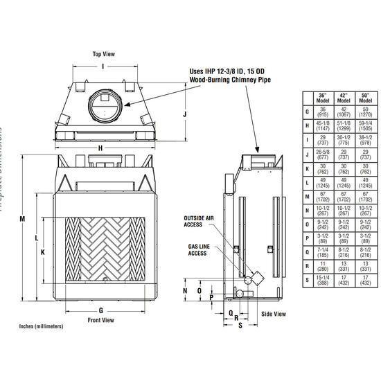 Superior WRT6050 Fireplace Overall Dimensions