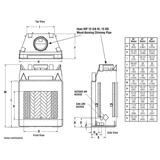 Superior WRT6042 Fireplace Overall Dimensions