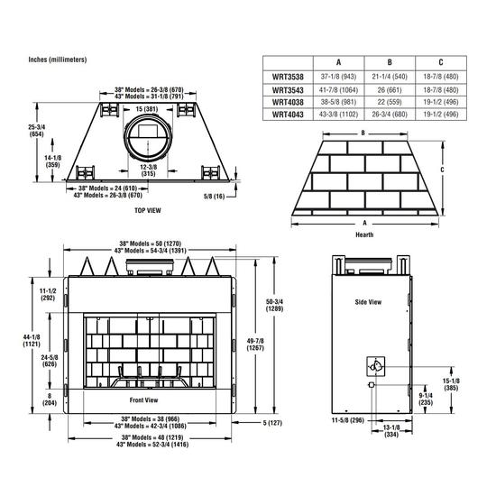 Superior WRT3538 Dimensions