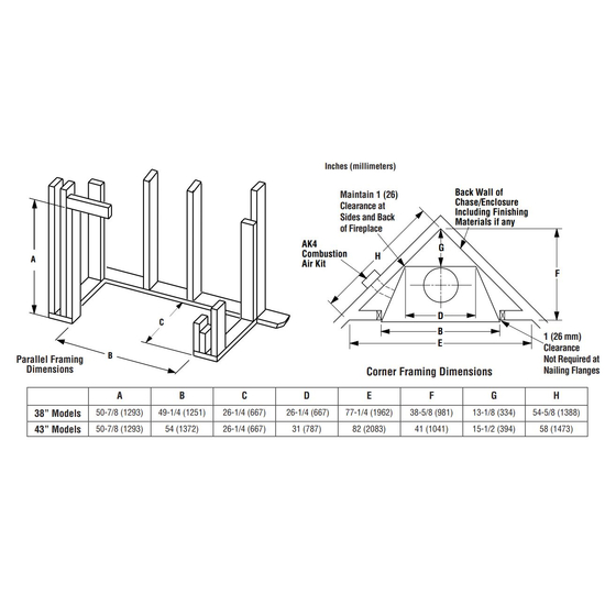 Superior WRT3543 Wood Burning Fireplace Framing Dimensions