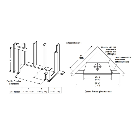 Superior Wood Burning Fireplace Framing Dimensions