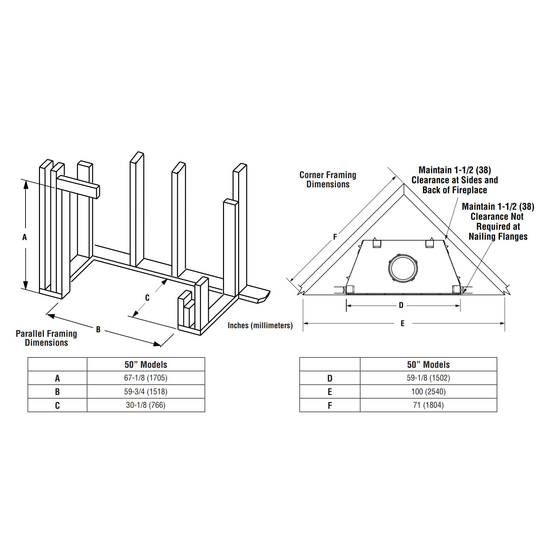 Superior WRT4550 Wood Fireplace Framing Dimensions