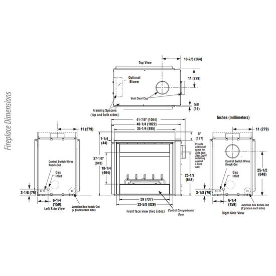 DRT35ST Fireplace Dimensions