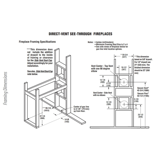DRT35ST Framing Dimensions