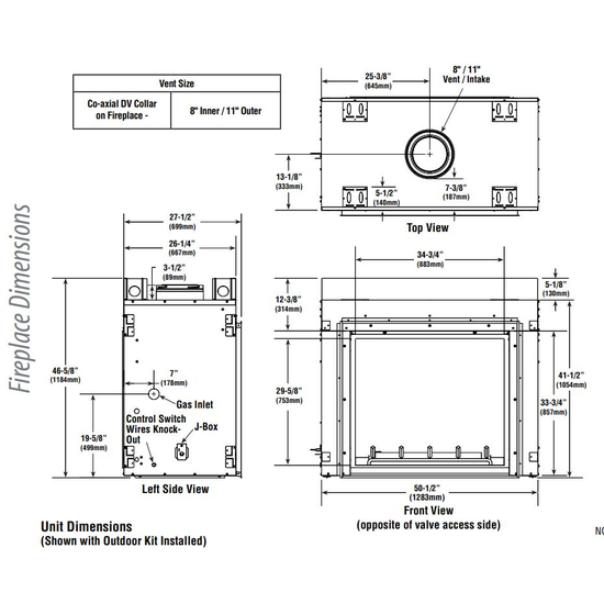 DRT63ST Fireplace Dimensions