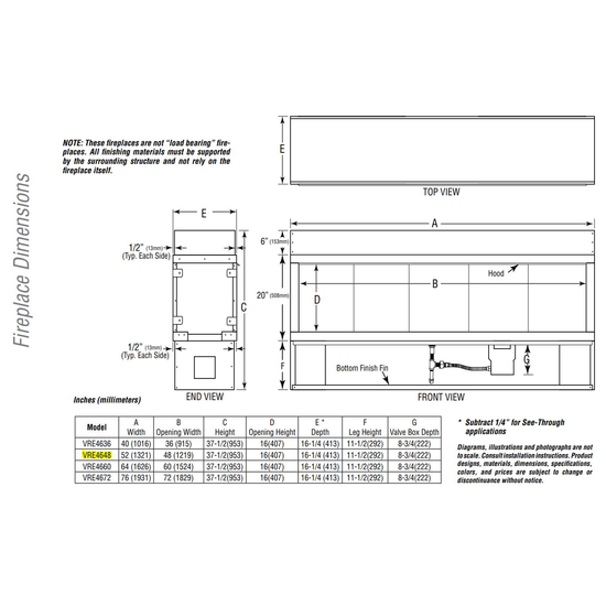 VRE4648 Overall Fireplace Dimensions