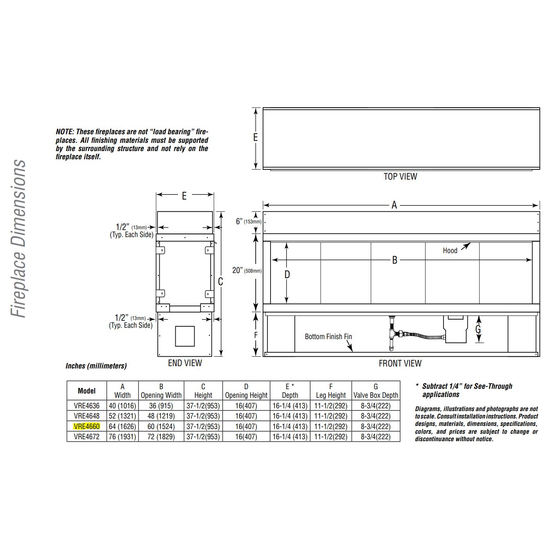 Superior VRE4660 Overall Fireplace Dimensions