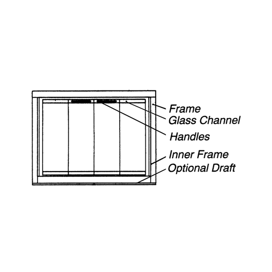 Diagram of the Classic Masonry Fireplace Glass Door