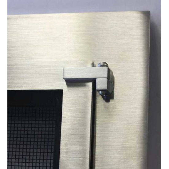 Brushed Stainless Steel Outdoor Masonry Fireplace Door Detail