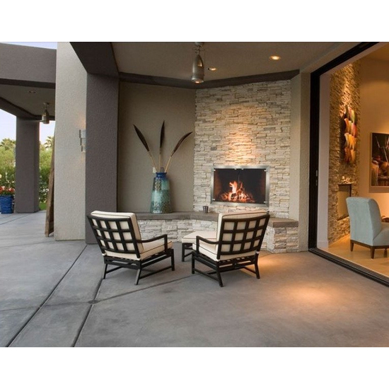 Brushed Stainless Steel Masonry Fireplace Door installed on a patio fireplace!