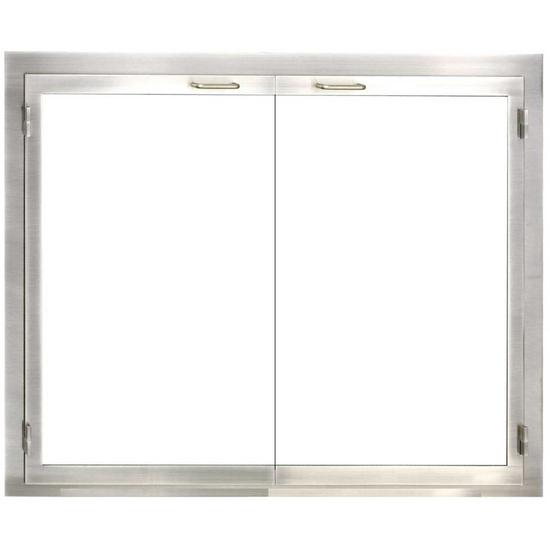 Stainless Steel Indoor Outdoor Zero Clearance Fireplace Door
