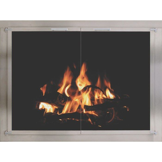 Brushed Stainless Steel Fireplace Door