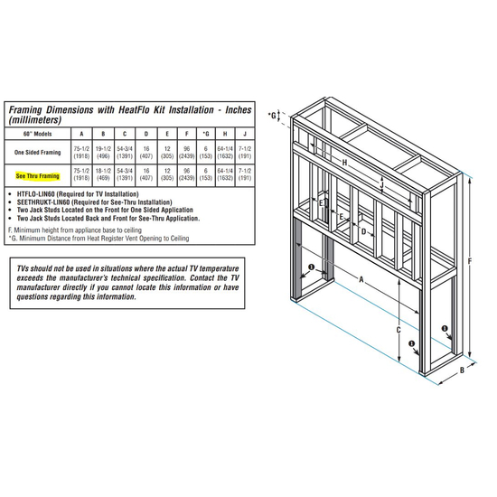 See Through Superior DRL4060 Framing Dimensions
