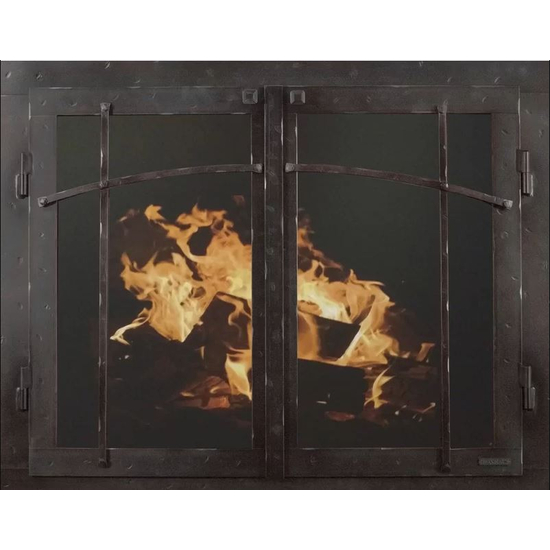 Classic Cabinet Craftsman Style Masonry Fireplace Door In Black Copper Hammered Finish