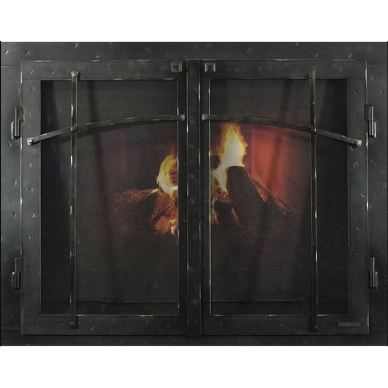 Classic Cabinet Craftsman Style Masonry Fireplace Door In Black Hammered Finish
