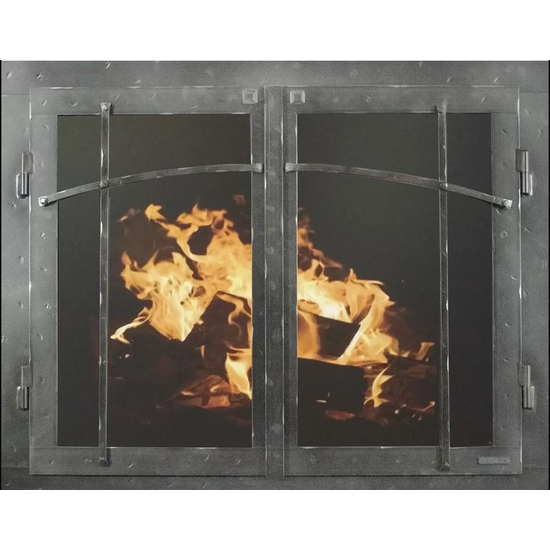 Classic Cabinet Craftsman Style Masonry Fireplace Door In Neutral Hammered Finish